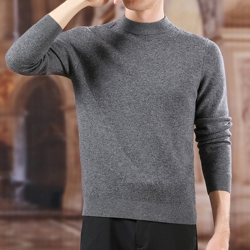 100% Wool New Fashion Brand Sweater For Men Pullovers Slim Fit Jumpers Knitwear Half Turtleneck Korean Style Casual Mens Clothes