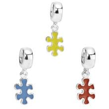 Bracelet Pendant Jewelry Diy CHAMSS 925-Silver All-Match Enamel Original Yellow Blue