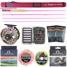 Maximumcatch 6'6''/9'0'' 2/5wt Fly Fishing Rod Kit Fly Rod and Fly Reel Combo with Fishing Lure Line Box Set Fishing Rod Tackle maximumcatch 6 5 9ft pink fly rod 2 5wt 4pieces 30t carbon fiber medium fast fly fishing rod for ladies