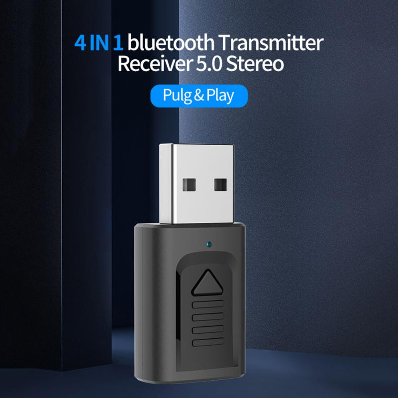 New 4in1 Bluetooth 5.0 Audio Receiver Transmitter Mini Stereo Bluetooth 3.5mm Aux Cable For TV Computer Car Kit Wireless Adapter
