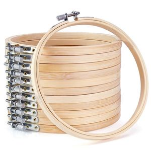 12 штук 6 дюймов деревянные обручи для вышивки оптом бамбуковые круглые кольца для вышивки крестиком круглые кольца для художественного рем...