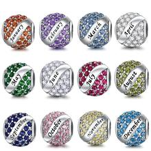DALARAN 925 Sterling Silver 12 Months CZ Birthstone Charm Bead Fit Charms Pandora Bracelet Necklace DIY Original Jewelry