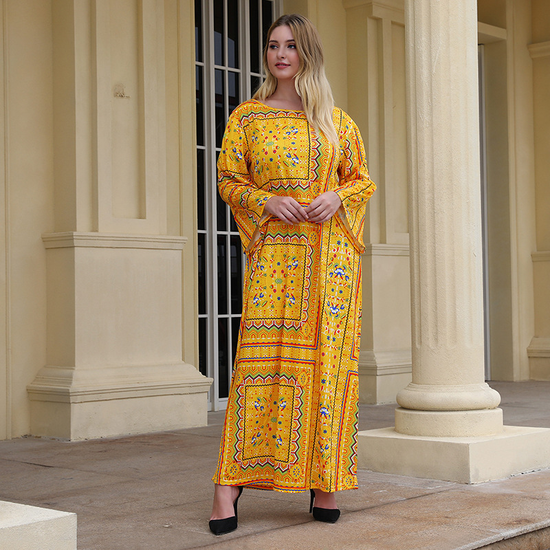 Plus Size Ethnic Printed Maxi Dress For Women Spring Summer Robe Boho Vestidos Ramadan Eid Kaftan Abaya Bohemian Gown VKDR1890