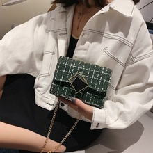 Chain Plaid Cross Body Bag For Women 2020 Fashion Messenger Bags Simple Wool Hasp Small Shoulder Bag Women Flap Bags Handbag