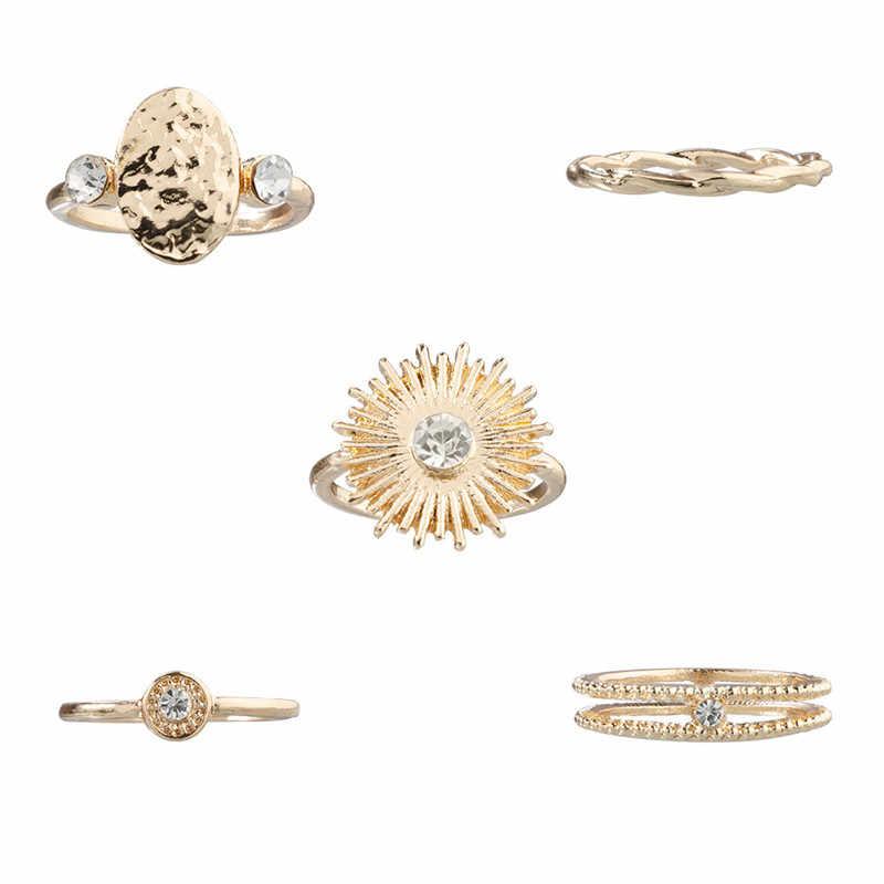 ZORCVENS, 5 unidades/juego, Color dorado, Punk, Vintage, girasol, cristal, conjunto de anillo de boda para mujer