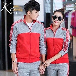 Traje de deportes nuevos 2020 para hombre y mujer, Jersey ajustado rojo y gris para Primavera, traje informal para correr o para parejas, ropa deportiva de manga larga para mujer