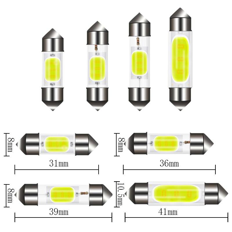 1 шт. автомобиль C10W C5W светодиодный гирлянда из початков 31 мм 36 мм/39 мм/41/42 мм, белый, в багажнике лампы номерного знака внутренний купол лампа ...