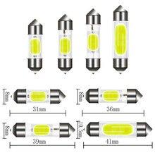 1 pces carro c10w c5w led cob festão 31mm 36mm 39mm 41/42mm branco tronco lâmpadas placa de licença interior cúpula lâmpada luzes leitura 6500k