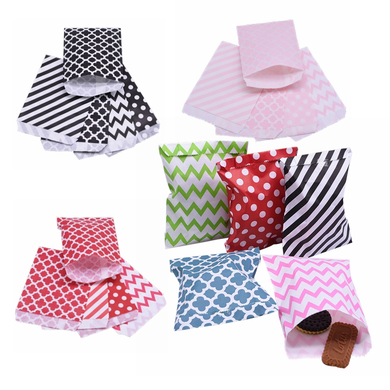 25pc Mixcolor Kraft Paper Bag Treat Candy Bags Chevron Polka Dot Bag Cookie Packaging Party Favors Gift Bag Wedding Xmas Supplie