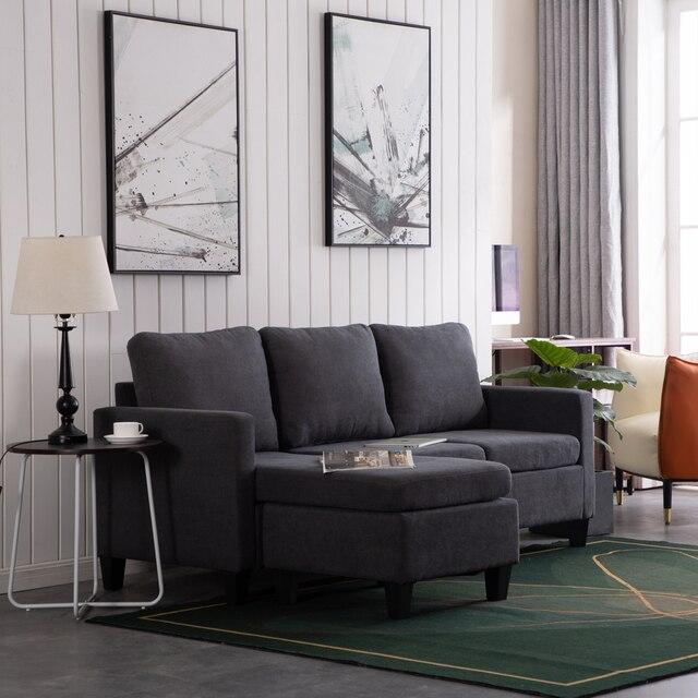 196x68x80CM Double Chaise Sofa Dark Grey  6