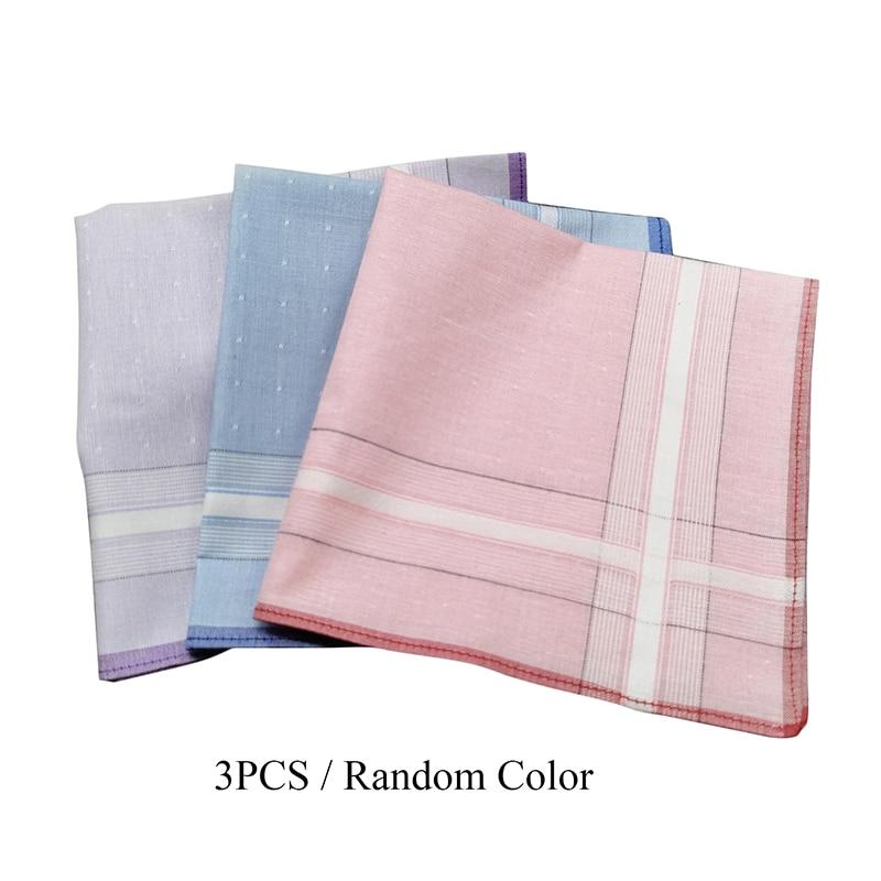 3Pcs/lot Plaid Stripe Handkerchiefs Hanky Pocket Square Cotton Towel 28*28cm Random Color Women Men's Suit Pocket 2019 Hot Sales