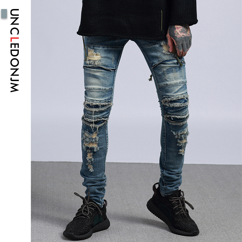 UNCLEDONJM Skinny Jeans For Mens Destroy Wash Pencil Pants Slim Fit Cotton Denim Ripped Wash Old Damage Hole Jeans TID-930