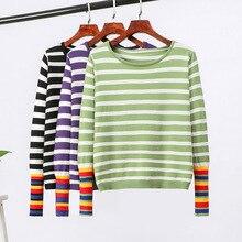 Mooirue Women Rainbow Striped Kintting Pullover Autumn Vintage Streetwear Korean Harajuku O Neck Jumper Female Sweater Tops