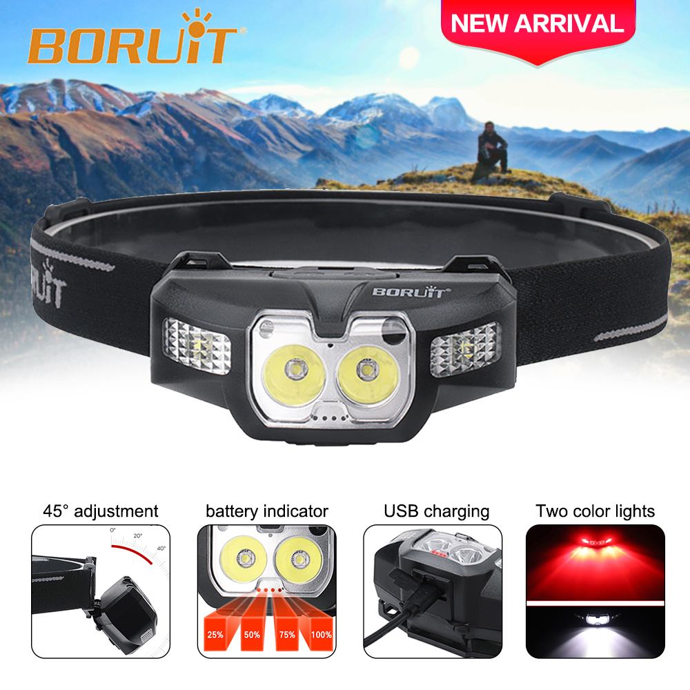 BORUIT B30 New Headlamp Flashlight Powerful 18650 Headlight Infrared Sensor Head Lamp Light White Red LED Head Torch Lantern