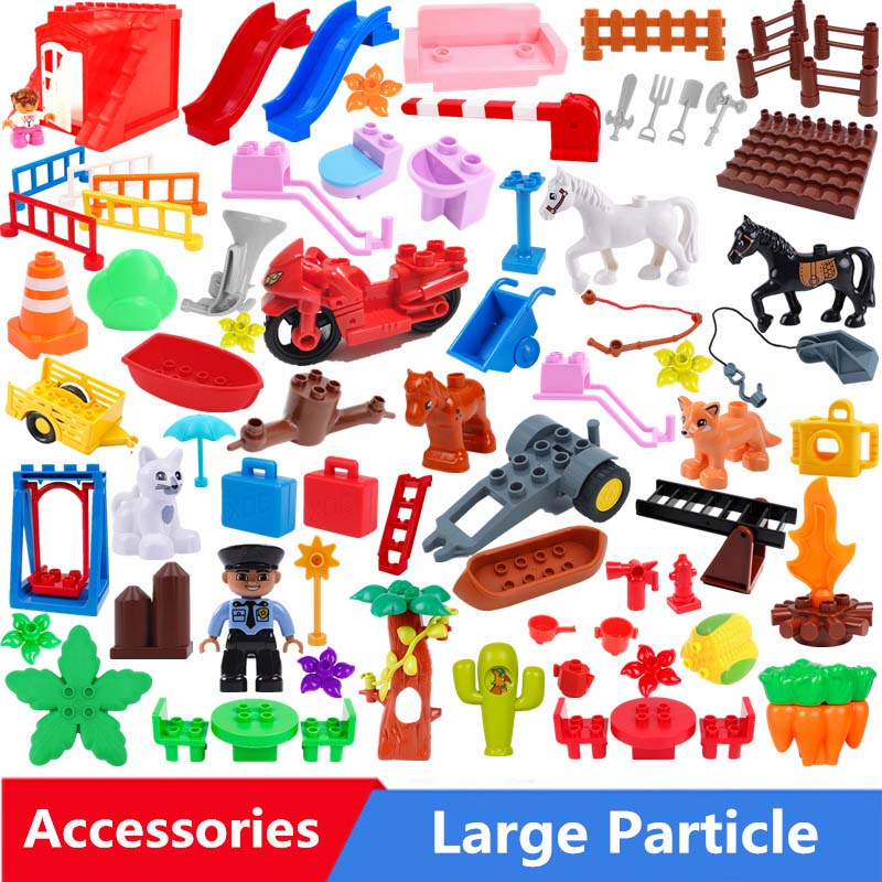 Large Particle Building Blocks Swing House Various Fire Facilities Accessories Compatible With Duploed Toys For Children Gifts