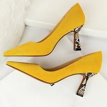 2020 Women 7.5cm High Heels Shoes Office Yellow Snake Print