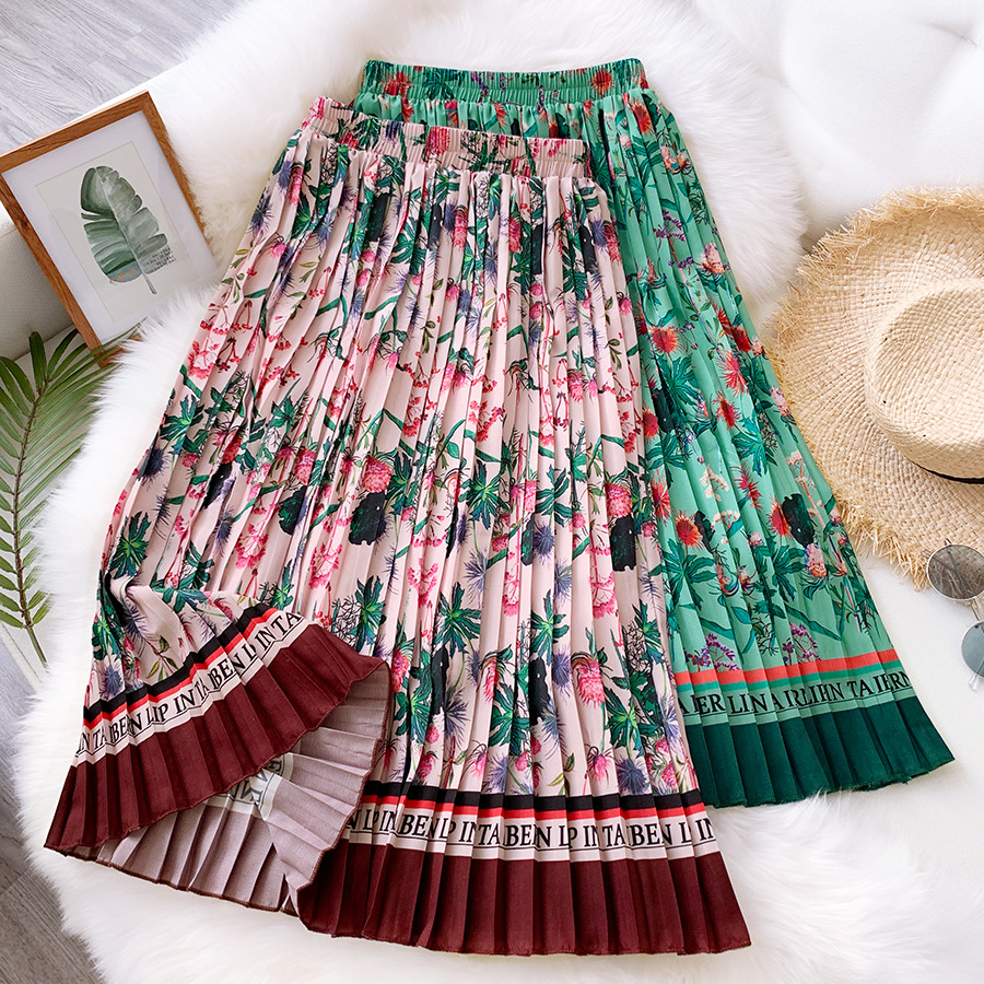 2020 Exotic Women Retro Floral Print Pleated Long Skirt Spring Summer Street Womens High Waist Elastic Midi Skirt Maxi Skirts