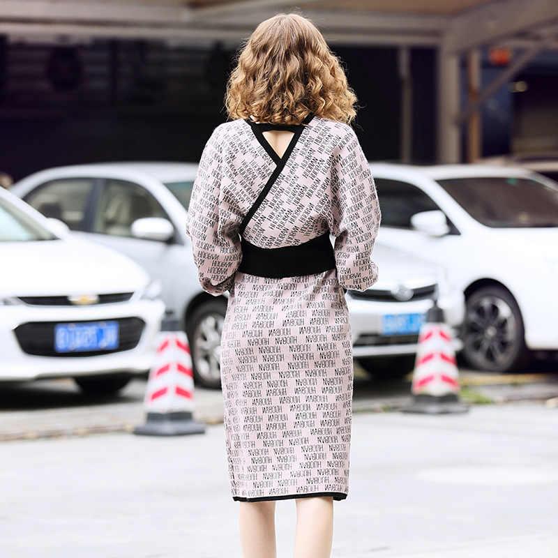 Zpqowv damski kombinezon z dzianiny spódnica ze swetrem dwuczęściowy ciepły dekolt w szpic list żakardowa jesienno-zimowa odzież damska