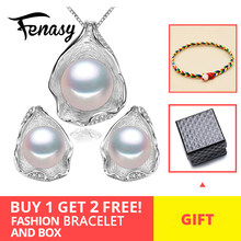 FENASY 925 Sterling Silver Freshwater Pearl Jewerly Sets For Women Boho Shell Design Jewellery Earrings Statement Necklace Set(China)