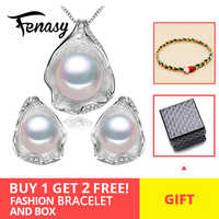FENASY 925 Sterling Silber Süßwasser Perle Jewerly Sets Für Frauen Boho Shell Design Schmuck Ohrringe Erklärung Halskette Set