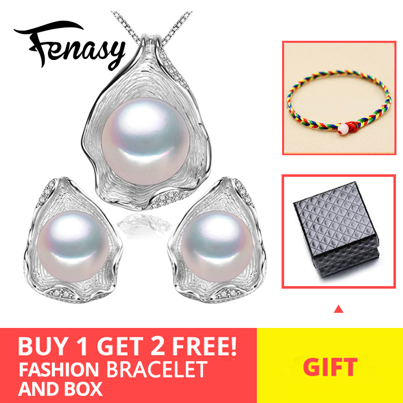 FENASY 925 Sterling Silver Freshwater Pearl Jewerly Sets For Women Boho Shell Design Jewellery Earrings Statement Necklace Set