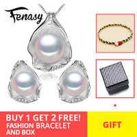 Juego de joyas de plata de ley FENASY de perlas de agua dulce de Plata de Ley 925 para mujer con diseño de concha Boho
