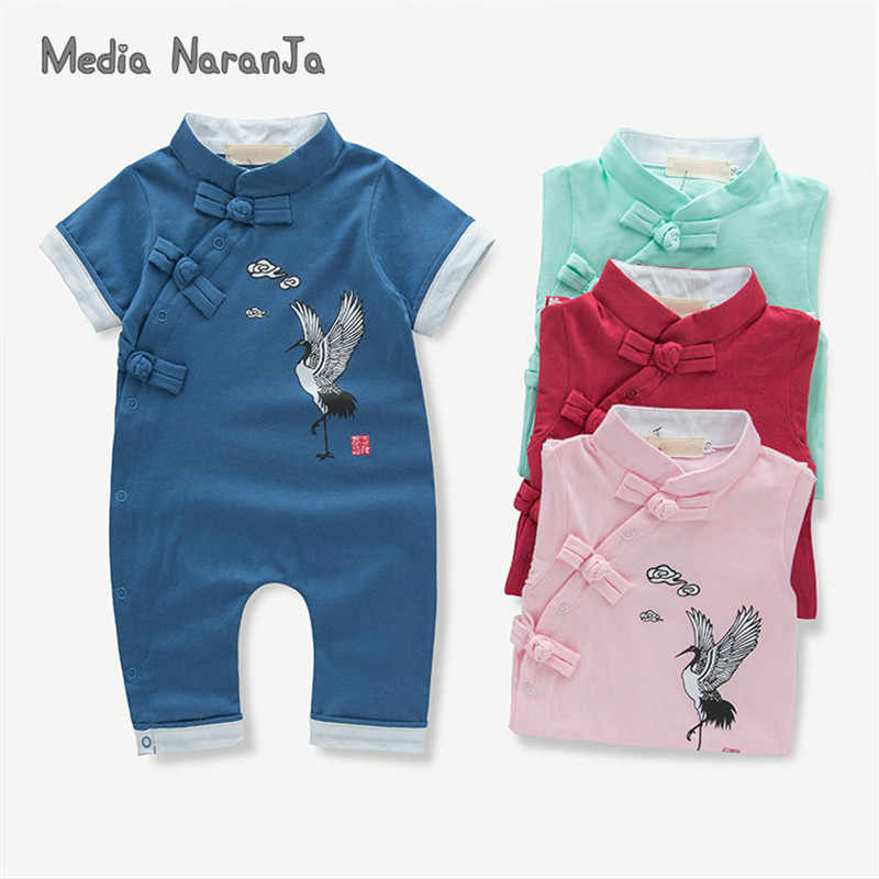 Baby toddler costume infant Chinese style cranes summer short sleeve side buckle romper red pink blue  jumpsuit clothes