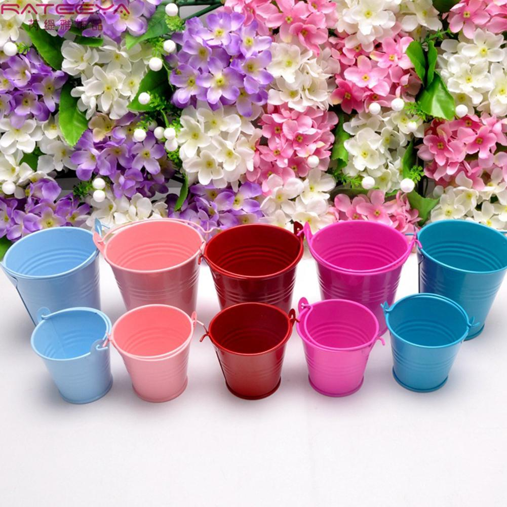 Tinplate Small Metal Bucket Flower Pots Home Decorative Mini Iron Buckets Iron Planters Wedding Party Home Flower Decoration
