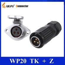 Originele Weipu Connector WP20 TK Z 2 3 4 5 7 9 12 Pins Kabel Connector Plug Socket Waterdichte Auto power Opladen Connector