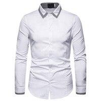 High Quality Men Shirt Long Sleeve Solid Formal Business Shirt Brand Man Dress Shirts Stitching cuffs male shirt black white