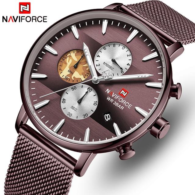 NAVIFORCE Top Luxury Brand Mens Business Quartz Watch Men Stainless Steel Waterproof Mens Watches Chronograph Date Male Clock
