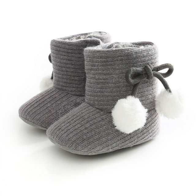 2019 Baby Autumn Winter Boots Baby Girl Boys Winter Warm Shoes Solid Fashion Toddler Fuzzy Balls First Walkers Kid Shoes 0-18M
