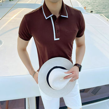 Letnia koszulka Polo z krótkim rękawem koszula męska Slim koszulka Polo wysokiej jakości oddychająca koszulka Polo Para Hombre kontrastowa koszulka Polo w klapie tanie i dobre opinie NSTOPOS BIZNESOWY krótkie Na co dzień summer CN (pochodzenie) COTTON Szczupła NONE Stałe M L XL XXL XXXL camisa masculina polo