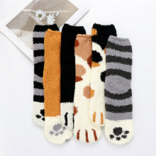 1 пара мягкий хлопок носки для женщин дам милый кошка лапа узор утолщение кровать носки пушистые длинные носки зима сохраняет тепло 32 см