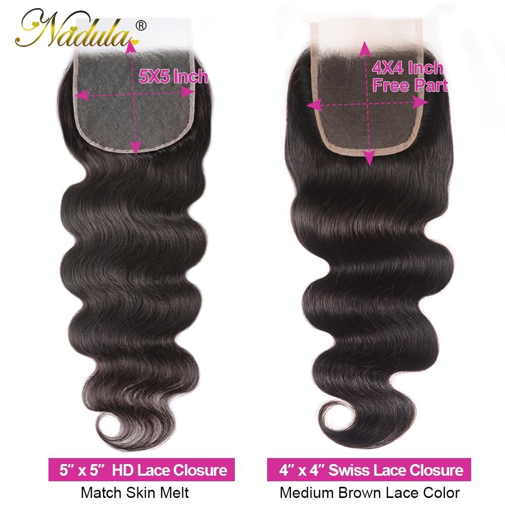 Nadula Hair  Body Wave Bundles With Closure 4*4 Lace Closure   Bundles With Closure 4