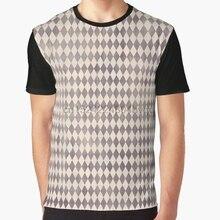 Camiseta con estampado en 3D para mujer, camiseta divertida para hombre, camiseta gráfica con diamantes de arlequín púrpura Vintage