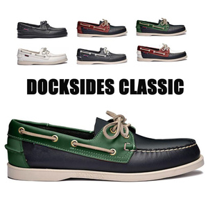 Image 1 - 남자 진짜 가죽 운전 신발, 새로운 패션 Docksides 클래식 보트 신발, 브랜드 디자인 아파트 남성 여성을위한 로퍼 2019A006