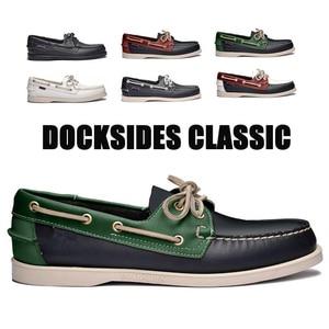 Image 1 - Mężczyźni prawdziwej skóry buty do jazdy samochodem, nowa moda Docksides klasyczny but marynarski, projektowanie marki mieszkania mokasyny dla mężczyzn kobiety 2019A006