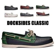 Sapato de condução de couro genuíno, sapato clássico de barco, nova moda mocassins unissex design de marca, mocassins para homens e mulheres a006