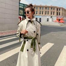 Women Korean Long Trench Coat Fashion Splice Loose Casual Double Breasted Bandage Windbreaker Female Elegant Chic Overcoat Cloak(China)