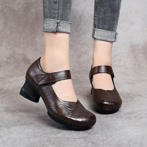 Image 3 - GKTINOO 2020 Vintage Women Pumps Comfortable Genuine Leather High Heel Shoes Women Round Toe Casual Thick Heel Mother Shoes