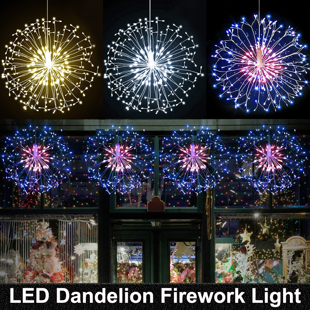 198 LED String Lights Remote Control Waterproof Dandelion Firework LED Copper Wire String Lights Christmas Firework Fairy Lights
