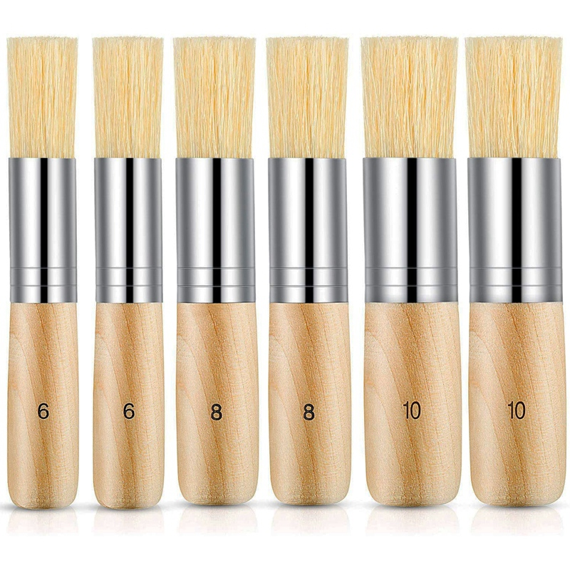 Wooden Stencil Brush Natural Brushes Bristle Art Painting Brushes for Painting Watercolor Acrylic Painting DIY Tools