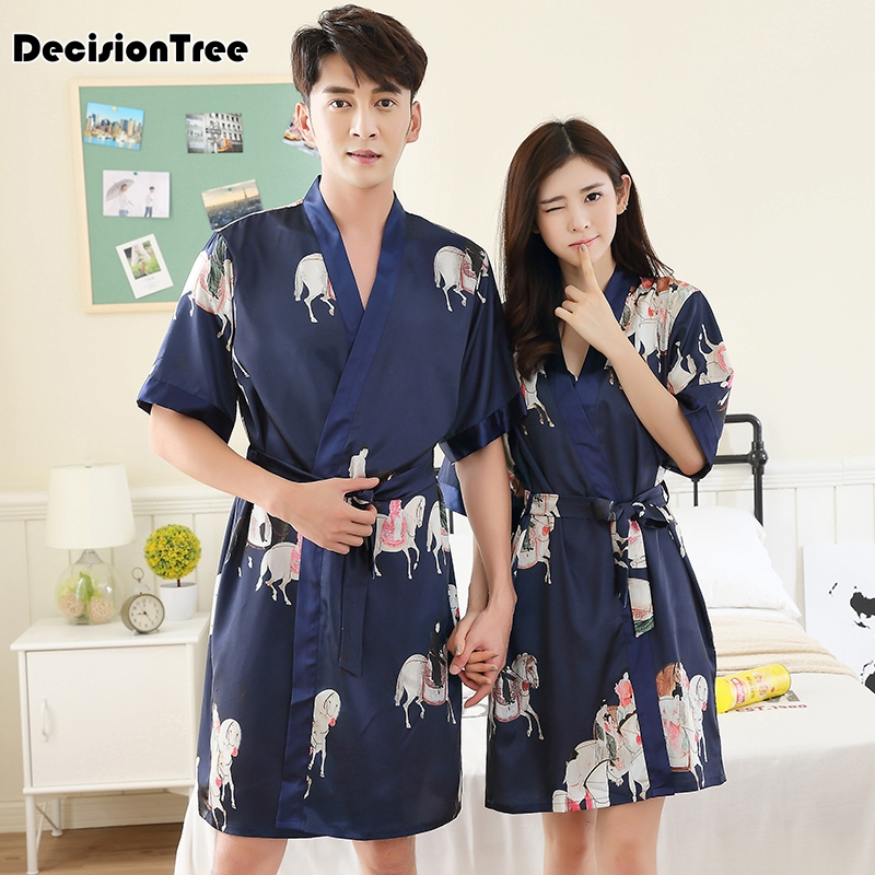 2019 Stylish Men's Bathrobe Silk Kimono Long Sleeves Robe Chinese Lucky Dragon Print Pajamas Men Gown Bathrobe Men Homewe