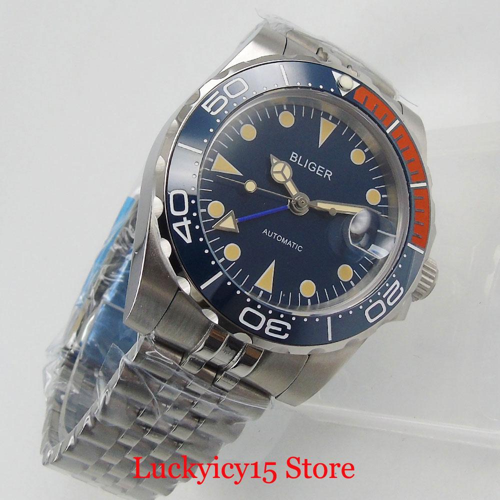 BLIGER New Arrival Business Blue Sapphire Glass 40mm men Watch MINGZHU GMT Movement Jubilee Strap
