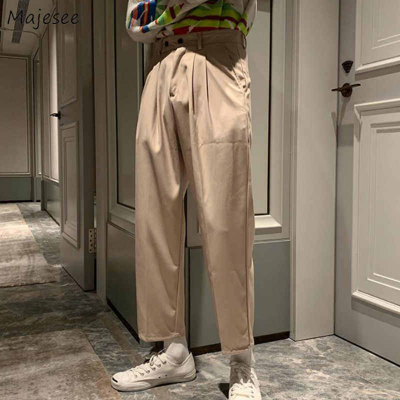 Men Casual Pants Button Fly Solid Simple Straight Trousers Chic All-match Trendy Mens Korean Style Loose Ankle-length Trendy New