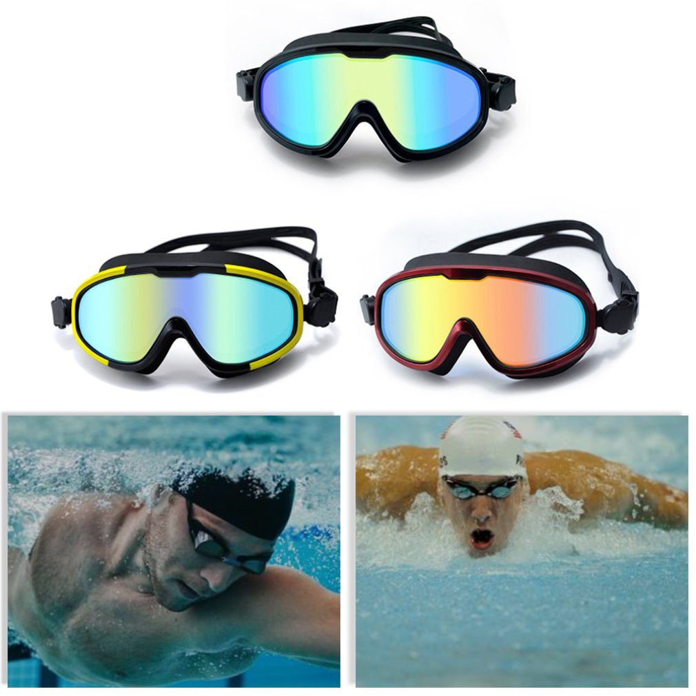 HD Anti-fog Oversized Silicone Plated Swimming Glasses Waterproof And UV No Fogging Protects Eyes Glasses