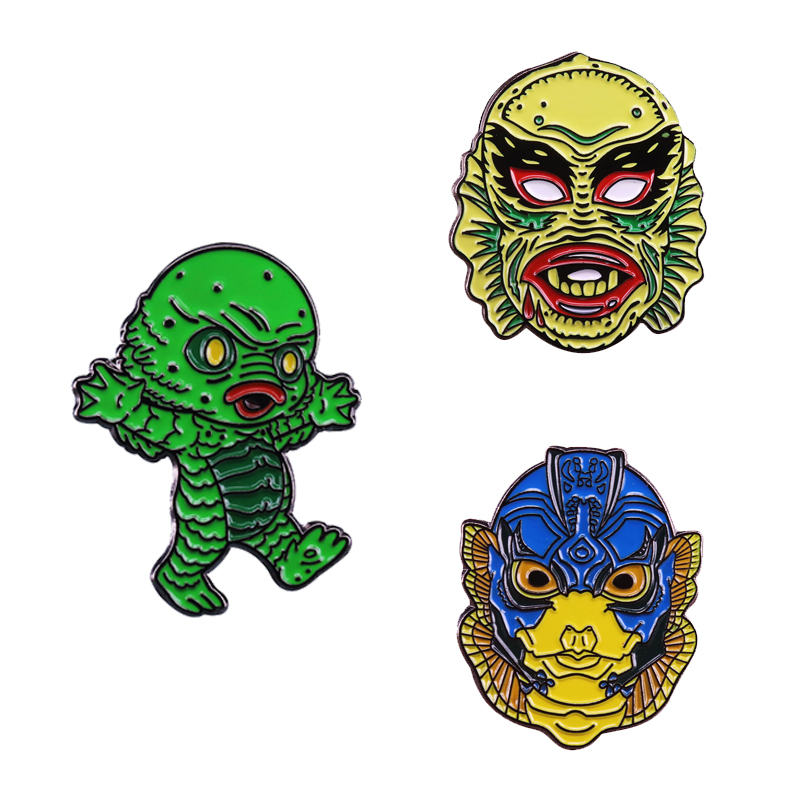 The Creature from Black Lagoon Brooch Aquatic Killer Gill Man Pin Universal Monsters Badge Sci-fi Horror Movie Fans Collection