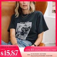 Dzikie serce wyblakłe koszulki damskie letnie koszulki z krótkim rękawem O szyi bawełniane koszulki Casual Vintage klasyczne myte czarna koszulka Top 2021