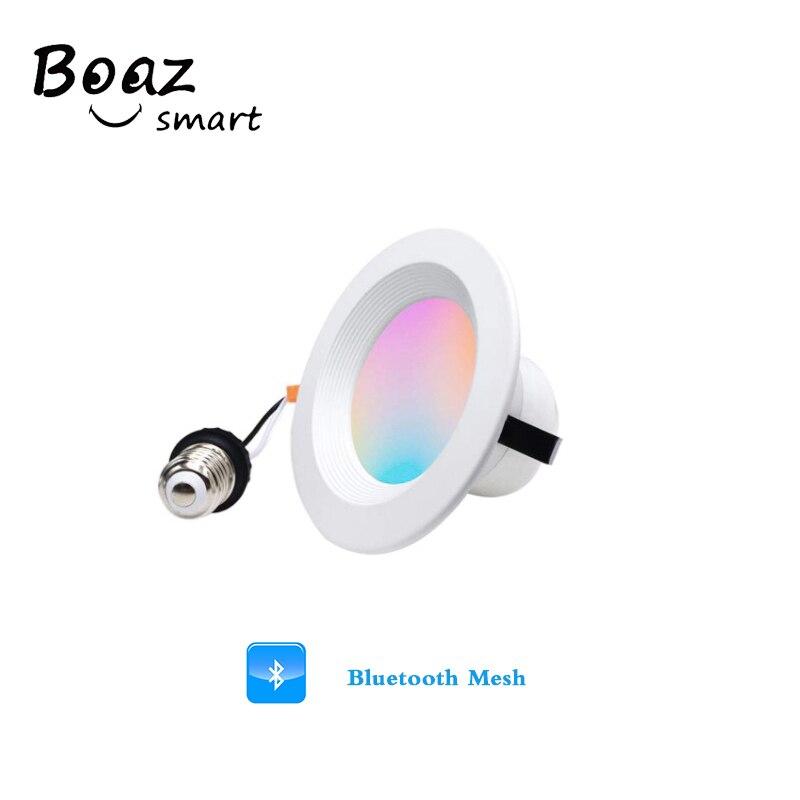 4 дюйма светодиодный встраиваемый светильник s Встроенный потолочный светильник Bluetooth сетчатый светильник теплый белый Голосовое управление цвет затемнения точечный светильник